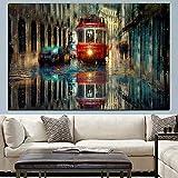 PLjVU Vintage City Street Paisaje Pintura al óleo Lienzo Arte Carteles e Impresiones Navia Pared Sala de Estar Cudros Pintura Decorativa-Sin marco30x40cm