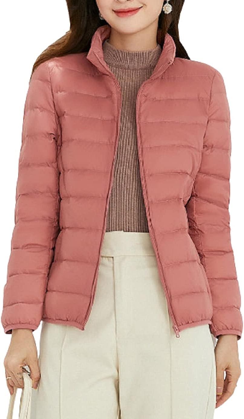 Chartou Women's Packable Stand Collar Quilted Full Zip Lightweight Down Jacket Coat Outwear