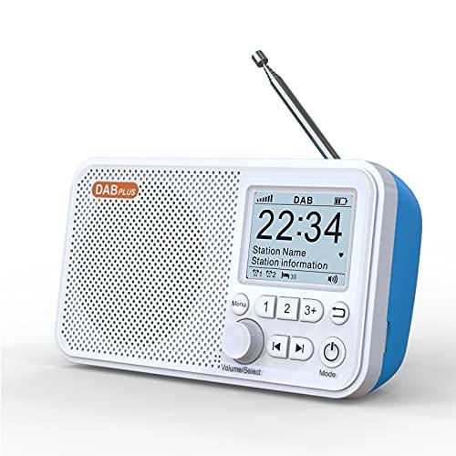 Radios DAB portátiles, radio digital DAB + FM con Bluetooth y tarjeta TF MP3, pantalla LCD a color de 2,4 pulgadas