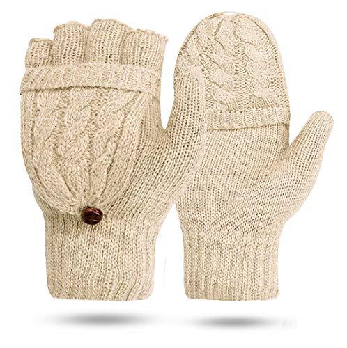 ECOMBOS Damen Handschuhe Fingerlos, Winter Handschuhe Fingerlose Fäustlinge Damen Fingerhandschuhe Warm, Beige, Einheitsgröße