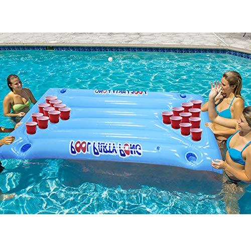 XWQXX PVC aufblasbare schwimmende Reihe aufblasbare Spiel schwimmende Reihe aufblasbare Tasse Loch Wasser Liege Tischtennis,Blue-OneSize