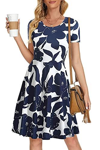 HUHOT Short Sleeve Spring Elegant Wedding Guest Sundresses for Women Midi Easter Casual Swing Dress