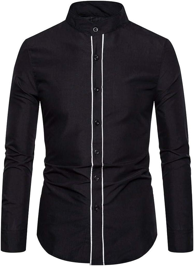 Men's Long Sleeve Regular Fit Stand Collar Casual Button Down Dress Shirt Tops