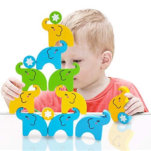 Wooden Stacking Game Balance Blocks - Elephant Building Blocks, Fine Motor Skill Toy for Kids...