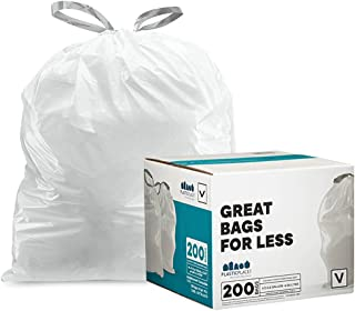 Plasticplace TRA310WH Custom Fit Trash Bags simplehuman (200 Count) White Drawstring Garbage Liners 4.2-4.8 Gallon / 16-18...