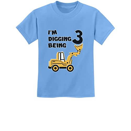 3rd Birthday Bulldozer Construction Party 3 Year Old Boy Toddler Kids T Shirt