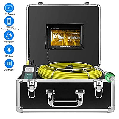 Sewer Camera, IHBUDS Industrial Endoscope Drain Sewer Pipe Video Plumbing Pipeline Inspection Camera System with 7 Inch LCD Monitor Snake Cam HD Video Waterproof Inspection Camera