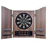 Tablero de dardos electrónicos, gabinete de madera maciza y paquete de diana electrónica listo para jugar con dos conjuntos de dardos de punta suave, tablero de dardos de puntuación automática