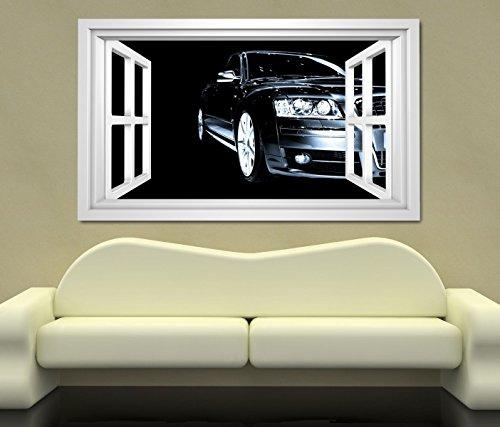 3D Wandtattoo Auto schwarz abstrakte Kunst Porsche modern selbstklebend Wandbild sticker Wand Aufkleber 11K781, Wandbild Größe F:ca. 140cmx82cm