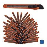 Relaxdays, Naranja Set de 100 cúteres, Biselado, Cuchillas de 9 mm, para Cajas o Manualidades, plástico, Metal, estándar