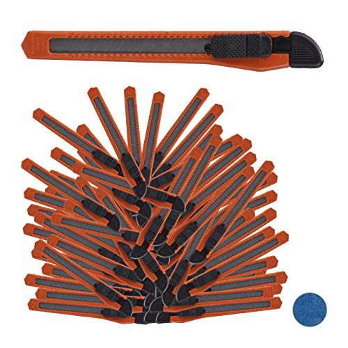 Relaxdays Cuttermes 100-delige set, veilig vastklikken, 9mm afbreekmes, mes voor dozen & behang, om te knutselen, oranje