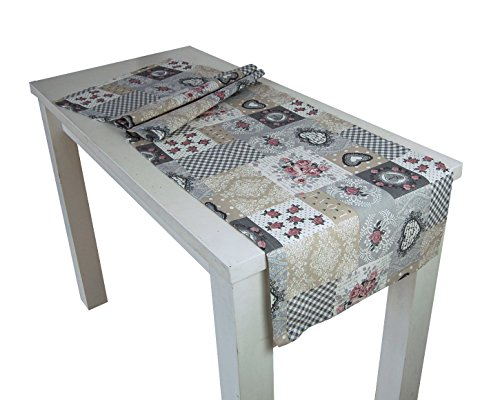 """beties """"Dorfkinder"""" Tischläufer ca. 40x130 cm Tischband in großer Sortiments- und Größenauswahl - Shabby Chic für den perfekten Landhaus Style Farbe (Silber-Mauve)"""
