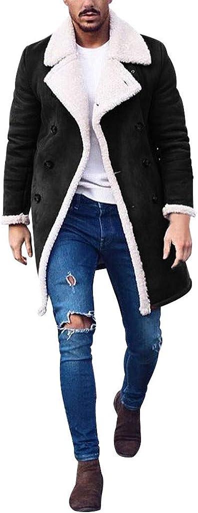 Asibeiul Men's Wool Blend Down Jacket Trench Woolen Top Coat Windproof Warm Winter Long Overcoat Outwear Knee Length Button