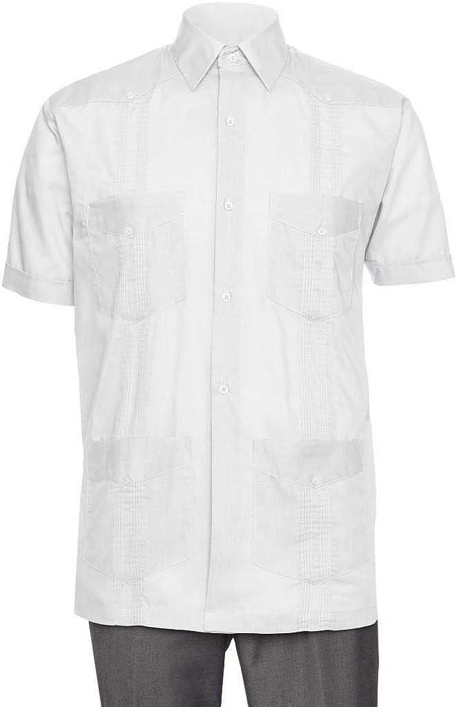 Gentlemens Collection Short Sleeve Guayabera Shirt - for Men Cuban Linen Look