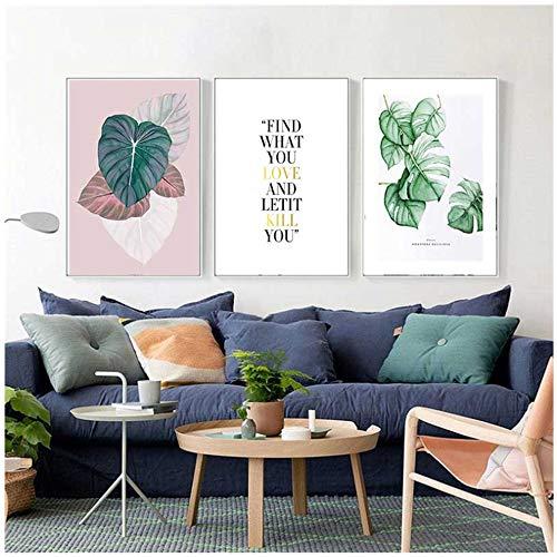 Poster en prints Scandinavisch canvas schilderij Modern Minimalistisch Creatief Groene plant Letter Bloem Muurschildering-40x60cm (15.7