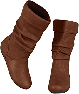 Syktkmx Womens Slouchy Under Knee Boots Winter Flat Low...