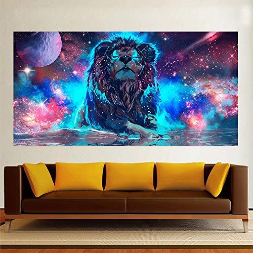 N / A Pintura sin Marco Decoración para el hogar Pintura en Lienzo Bestia león Cartel Pintura al óleo Sala de Estar Dormitorio decoración de la Pared Pintura ZGQ6038 60X110cm