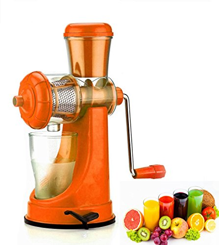 FIGMENT Hand Juicer for Fruits and Vegetables with Steel Handle Vacuum Locking System,Shake, Smoothies, Travel Juicer for Fruits and Vegetables,Fruit Juicer for All Fruits+ (Orange)