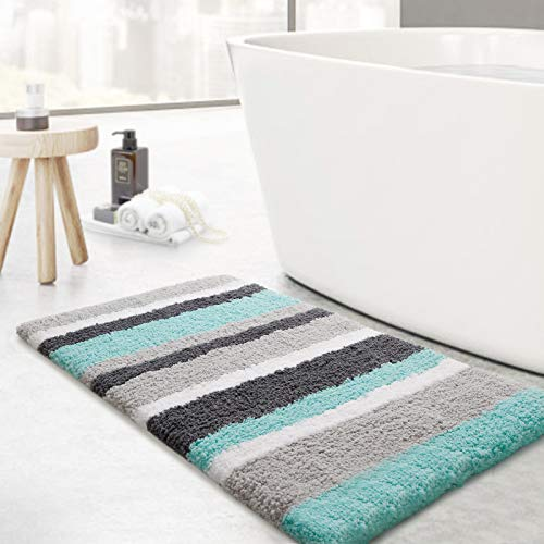 KMAT Luxury Bathroom Rugs Bath Mat,20'x32', Non-Slip Fluffy Soft Plush Microfiber Shower Carpet Rug, Machine Washable Quick Dry Ultra Shaggy Bath Mats for Tub, Bathroom and Shower, Green-Grey