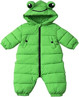 Xifamniy Infant Babies Down Jacket Romper Solid Color Frog Shape Hooded Jumpsuit