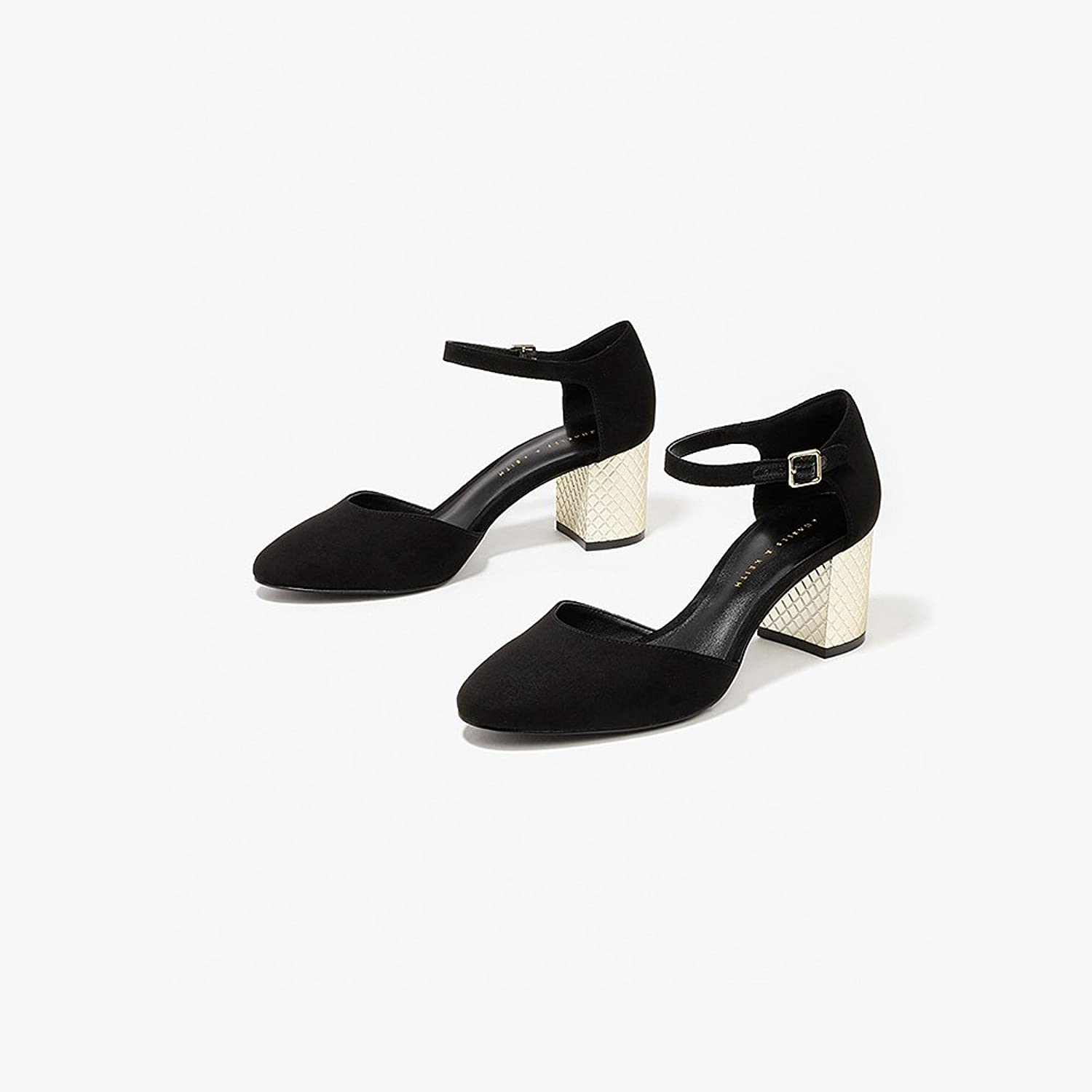 XUERUI Retro Thick with Sexy and Comfortable Word with Ladies in High Heels (color   Black, Size   EU36 UK4 CN36)