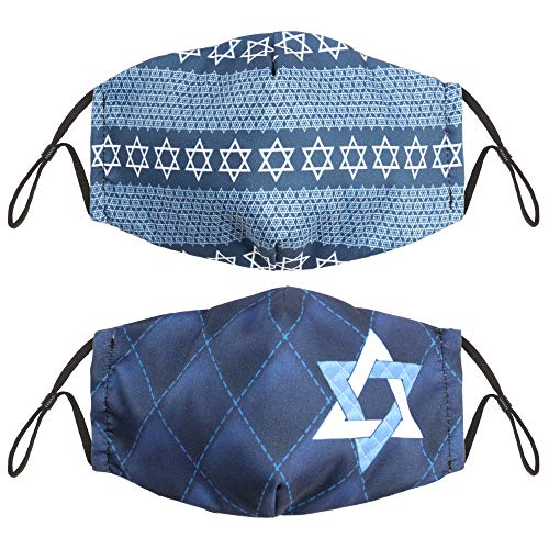 Hanukkah Adult Size Cloth Face Masks, 2-Pack - Cute, Washable, & Reusable Nose & Mouth Protection - Breathable Cotton Inner, Poly Outer - Holiday Safety Fashion for Teens & Parents