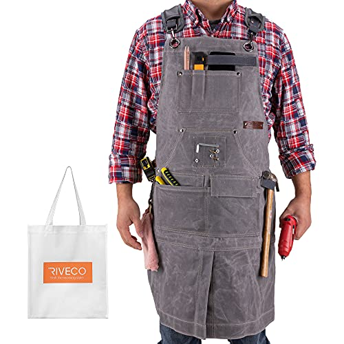 RIVECO Woodworking Apron for Men with Pockets for Tools and...