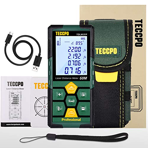 Laser Measure Rechargeable, TECCPO Laser Distance Meter 196ft, 99 Sets Data Storage, Electronic Angle Sensor, 2.25' LCD Backlit, Mute Function, Measure Distance, Area, Volume, Pythagoras - TDLM10P