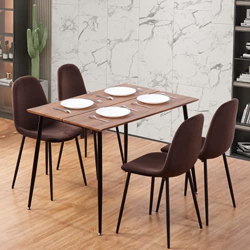 GOLDFAN Moderner Esstisch und 4 Stühle, rechteckiger Holztisch und weicher brauner Samtstuhl mit Metallbeinen.