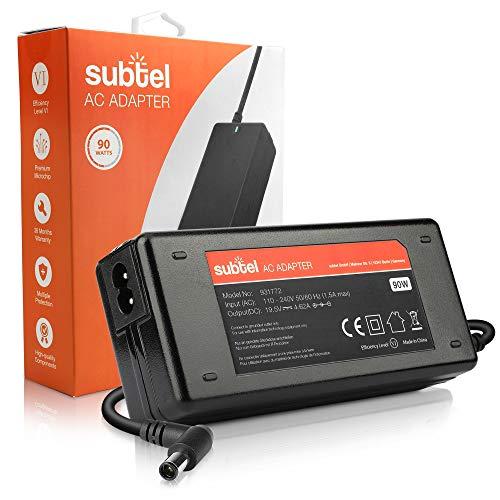 subtel Fuente de Alimentación 19.5V 90W Compatible con DELL Inspiron 1545, 1525 / Latitude E7440, E6540, 14, 15, 17 / XPS M1530, 15, 15Z- Cable Corriente 2.6m Cargador Rapido Ordenador Portatil