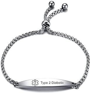 CL Stainless Steel Addisons Medical Alert ID Sos Emergency Link Identification Bracelet for Men Women