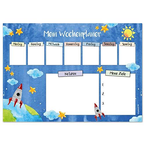 Vade de escritorio con diseño espacial en DIN A3, 25 hojas, planificador semanal, color azul, de papel, para escribir y arrancar, para niños grandes y pequeños, dv_916