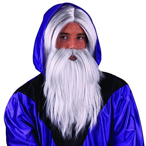 Fiesta Palace - perruque de magicien avec barbe blanc
