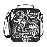 JSTEL Lunchtasche Vintage Motorrad Handtasche Lunchbox Lebensmittelbehälter Gourmet Bento Coole...
