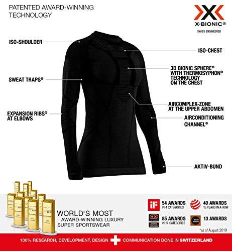 X-BIONIC Apani 4.0 T-Shirt à Manches Longues en Laine mérinos pour Femme S Noir