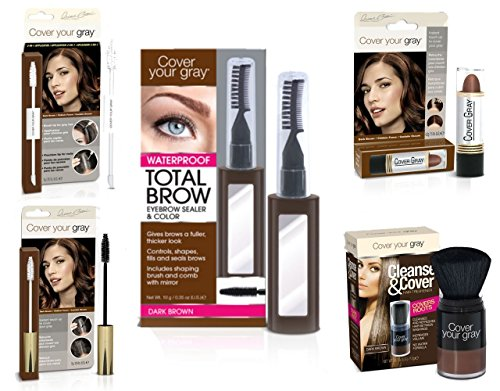 Cover Your Roots Head & Brow Gray Coverage 5 Piece Set - Dark Brown