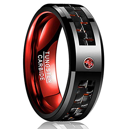 VAKKI Tungsten Wedding Ring with Black Carbon Fiber and Red Cubic Zircon Beveled Edge Comfort Fit Size 11