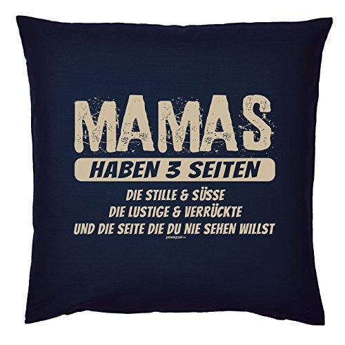 Art & Detail Shirt Coussin : Mama Mom Écrou Tag – Mamas de 3 pages Die Silent et Süsse – en tant que cadeau