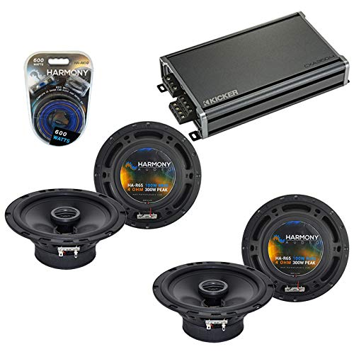 Harmony Audio Compatible with 2007-2017 Jeep Wrangler HA-R65 6.5' New Factory Speaker Replacement Upgrade Package 300W Speakers & Grills with 46CXA3604 Amplifier and HA-AK10 10 Gauge Amp Install Kit