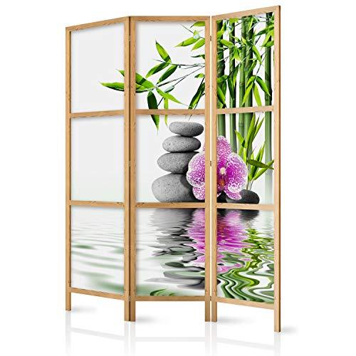 murando - Paravent Spa Blumen Orchidee 135x171 cm - 3-teilig - einseitig - eleganter Sichtschutz - Raumteiler - Trennwand - Raumtrenner - Holz - Design Motiv - Deko - Japan p-B-0033-z-b