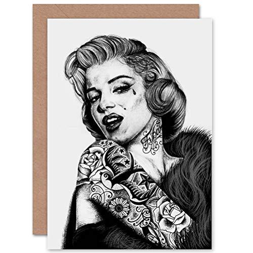 Wee Blue Coo Greetings Marilyn Monroe Tattoo Inked Ikon Icon Art by Wayne Maguire Sealed Greeting Card Plus Envelope Blank Inside