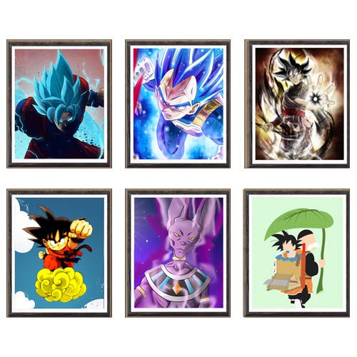 Ultra Dragon Ball Lord of Beerus Super Saiyan SSJ Goku Vegeta Manga Anime - Lienzo impreso artístico de 8 x 10 pulgadas, juego de 6, sin marco