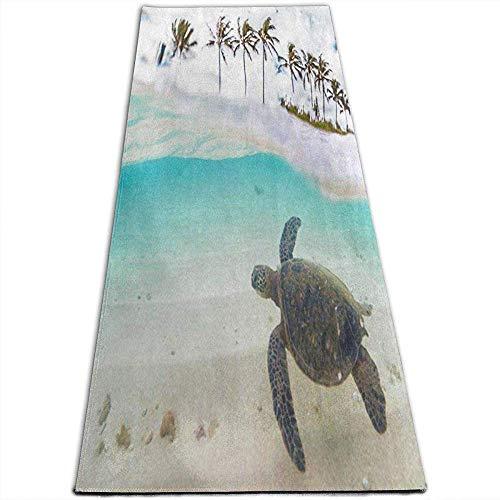 Tapis de Yoga antidérapant de Tapis de Yoga de Plage de Tortue de mer Verte Verte Palm Beach Tapis de Yoga élégants pour Le Yoga, Pilates, Exercices au Sol, Stretch [61X180Cm]