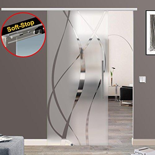 M6-900-420EGE Wandseitig flach (900x2050, Soft-Stop Slimline Alu-Schinensystem mit Griffstange(zylindrisch) 420mm Einseitig wandseitig flach)