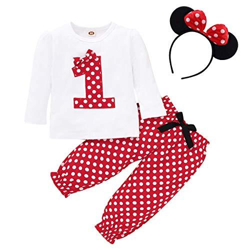 Infantil Bebé Niña 1 Año Cumpleaños Disfraz de Minnie Counjunto de Ropa Camiseta de Manga Larga + Pantalones de Lunares Rojos + Diadema de Oreja de Ratón Fiesta Fotografía Cake Smash Rojo 12-18 Meses