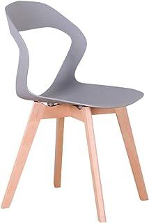 555 - Juego de 4 sillas de comedor y sillas de café, respaldo calado, madera maciza, estructura estable silla de ocio silla de comedor