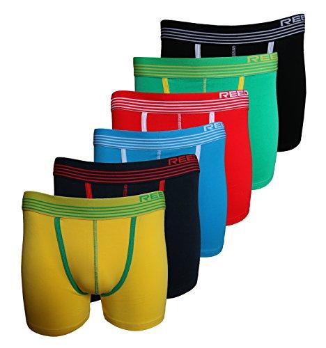 Reedic Herren Boxershorts, Baumwolle, 6er Pack, Größe X-Large (XL), Farbe je 1x gelb, blau, türkis, rot, grün, schwarz