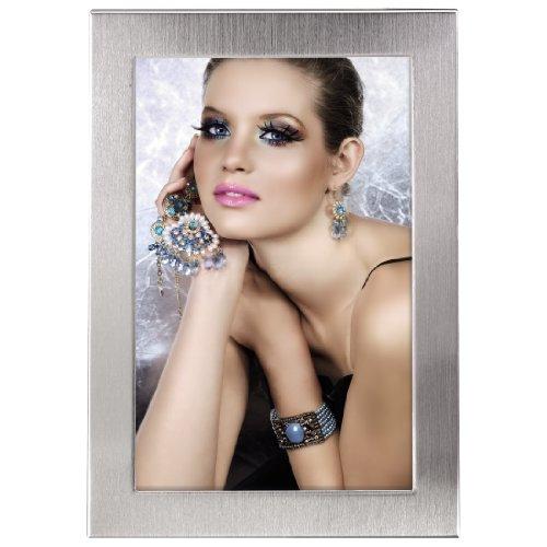 Hama Bilderrahmen 10x15 cm Davos (Fotorahmen mit Samtrückwand zum Aufstellen und Aufhängen) silber