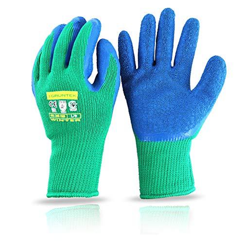 GRÜNTEK 4 Paar Thermo Arbeitshandschuhe mit Thermofutter, Schutz Winterhandschuhe für Herren und Damen Gr. L/9, Garten-Handschuhe für Gebrauch im Herbst und Winter