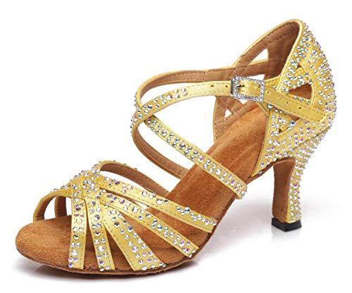 MINITOO Damen Tanzen Schuhe Tanzschuhe Latein Salsa Glitzer L423 Gelb EU 35